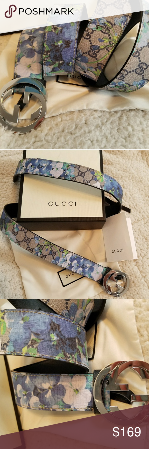 fb832177691 Authentic Gucci Belt Blue Blooms Monogram Print Authentic Gucci Belt Blue  Blooms Monogram Print with Silver GG Buckle. Nice! Comes with dust bag and  box.
