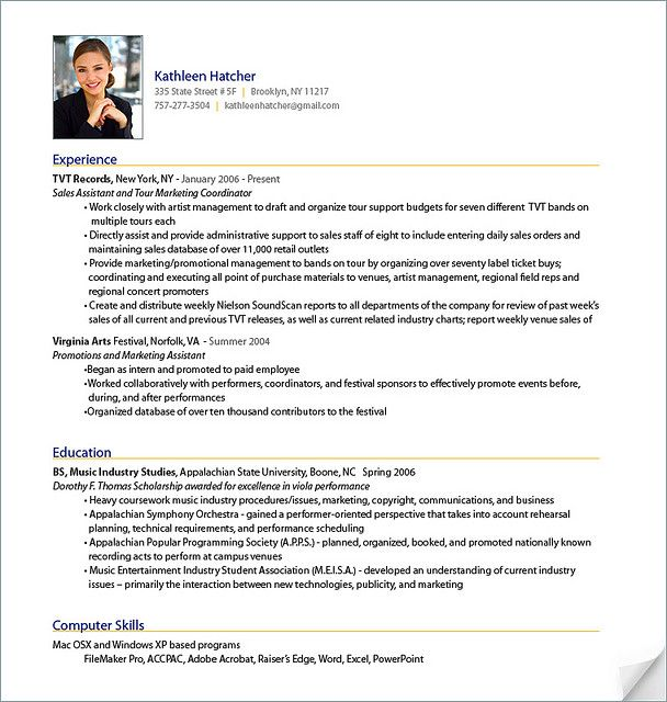 Resume Sample from ResumeBear.com Find great tips for writing resumes and  cover letters.