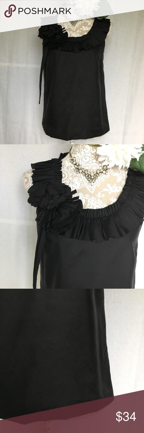 d6dce25b5820 J. Crew // Black Silk Pleated Posy Top SZ 0 18679 A gorgeous silk top from J.  Crew. Black color. Pleats and fabric flowers along the neckline.