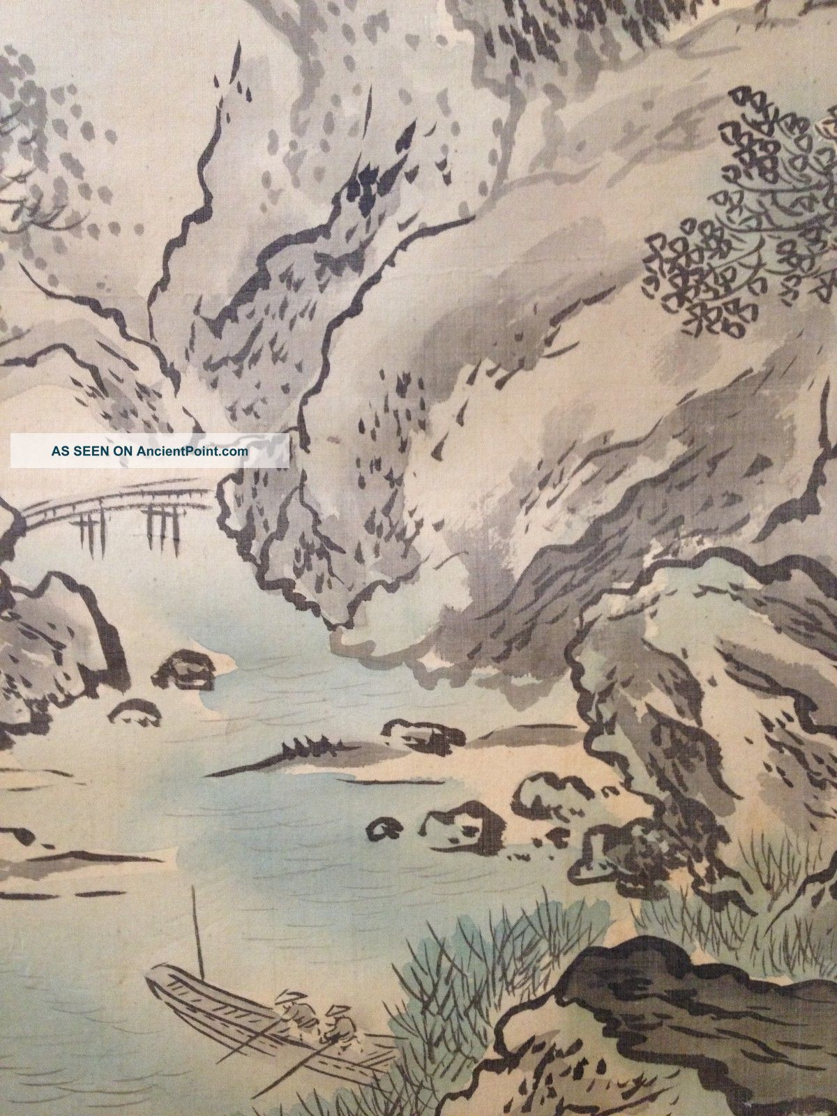 513 Mountain River Scenery Japanese Antique Hanging Scroll Paintings & Scrolls photo