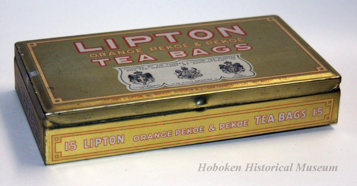 Lipton Tea S Lipton Orange Pekoe Pekoe Tea Bags Small Flat Tea Tin Held 15 Teabags Primarily Gold In Colour C 1921 1936 Man Tea Tins Pekoe Tea Lipton Tea