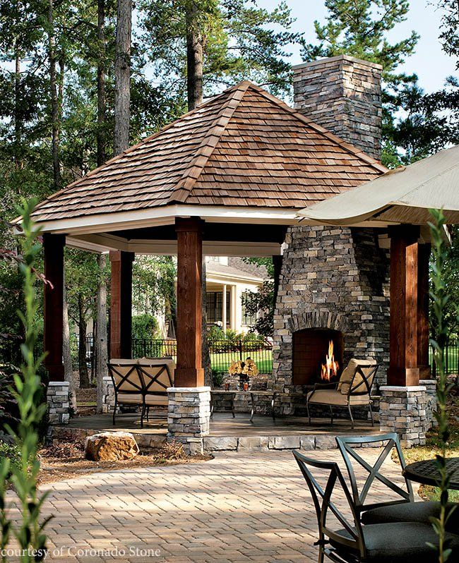 Rock and roll with stone veneer | Backyard gazebo, Patio ... on Rock And Stone Outdoor Living id=73668