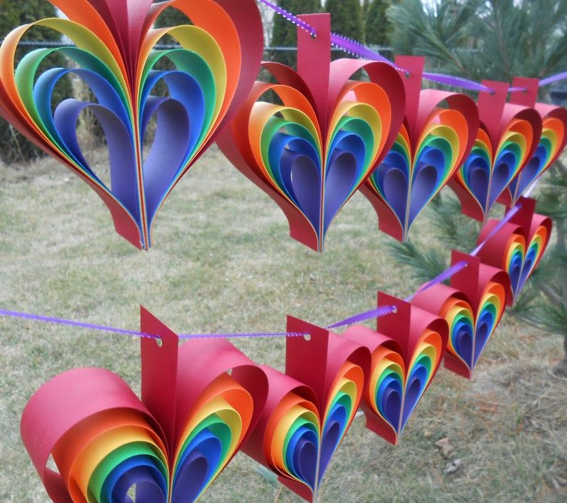 Photo of TWO Garlands Of RAINBOW HEARTS. 10 Hearts. Wedding, Shower Decoration, Home Decor. Custom Orders Welcome. Any Color Available.