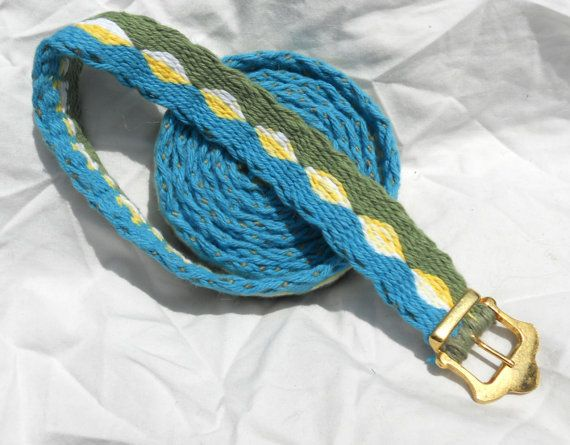 73 inch Tabletwoven Belt - Blue, Green, Yellow, White. $27.00, via Etsy.