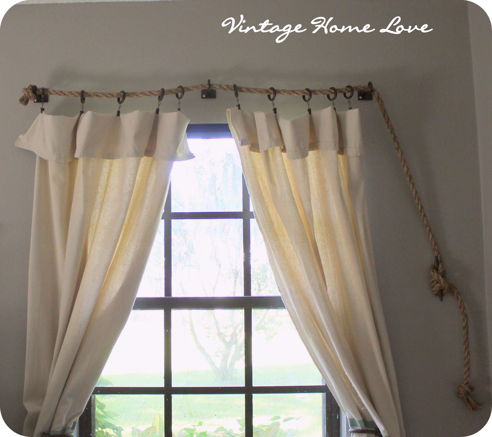 Vintage Home Love: Rope Curtain Rod! AND DIY Curtains! | Canaan\'s ...