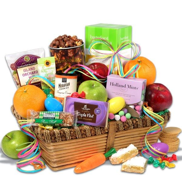 Fruits and chocolate gift basketi really like the addition of a our easter baskets are filled with candies and gourmet goodies the bunny will look like an amateur our easter gift baskets are perfect for kids or adults negle Images