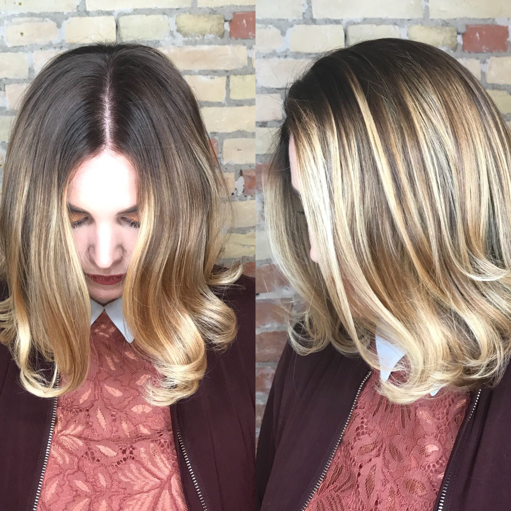 Dark roots and blonde tips Balayage By Neel vandenengh