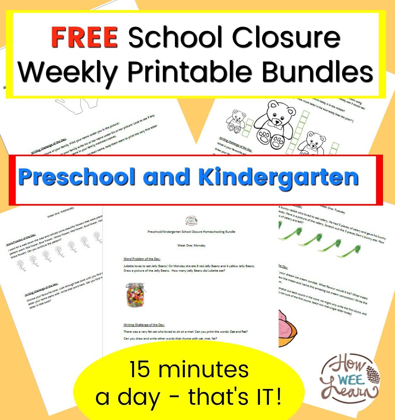 Preschool And Kindergarten School Closure Homeschooling Printables School Closures Handwriting Worksheets For Kindergarten Kindergarten Schools [ 1434 x 1348 Pixel ]