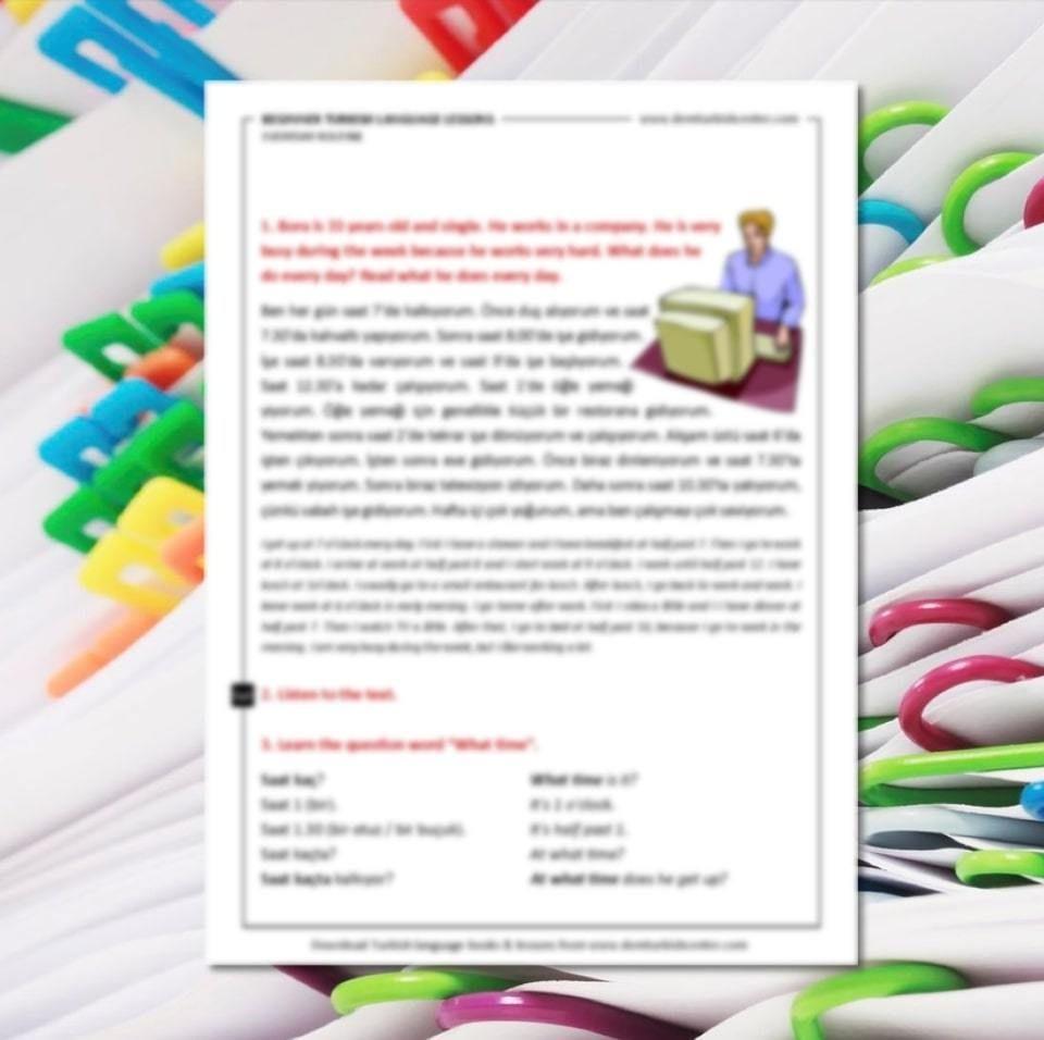 Free Printable Turkish Worksheets