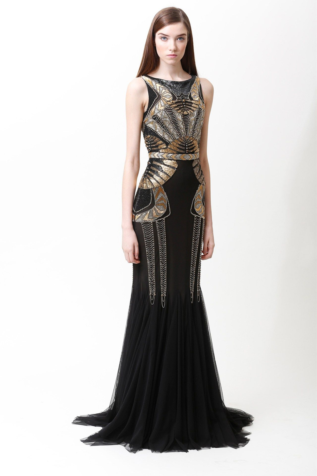 Badgley mischka art deco inspired sequined black gown vestidos