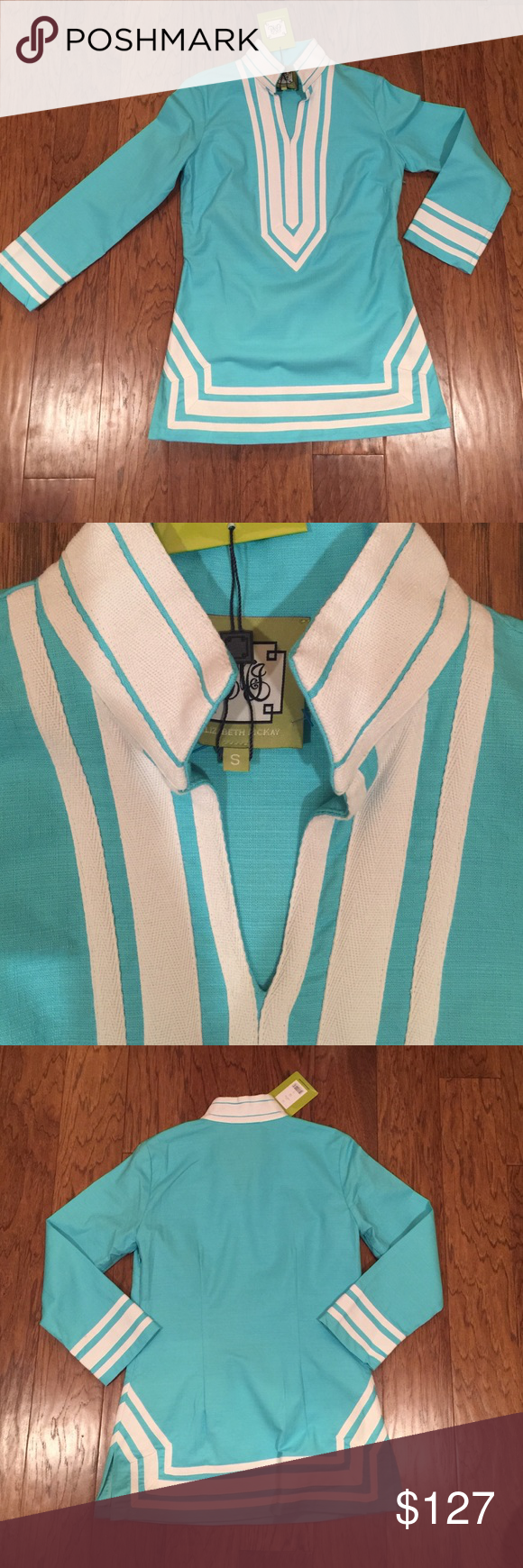 NWT ELIZABETH MCKAY TUNIC TOP Brand new with tags in stores now Elizabeth McKay Turquoise tunic top blouse style 4310 classic tunic S, with side zipper.  This is heavy duty fabric and looks tailored when worn. Elizabeth Mckay Tops Tunics