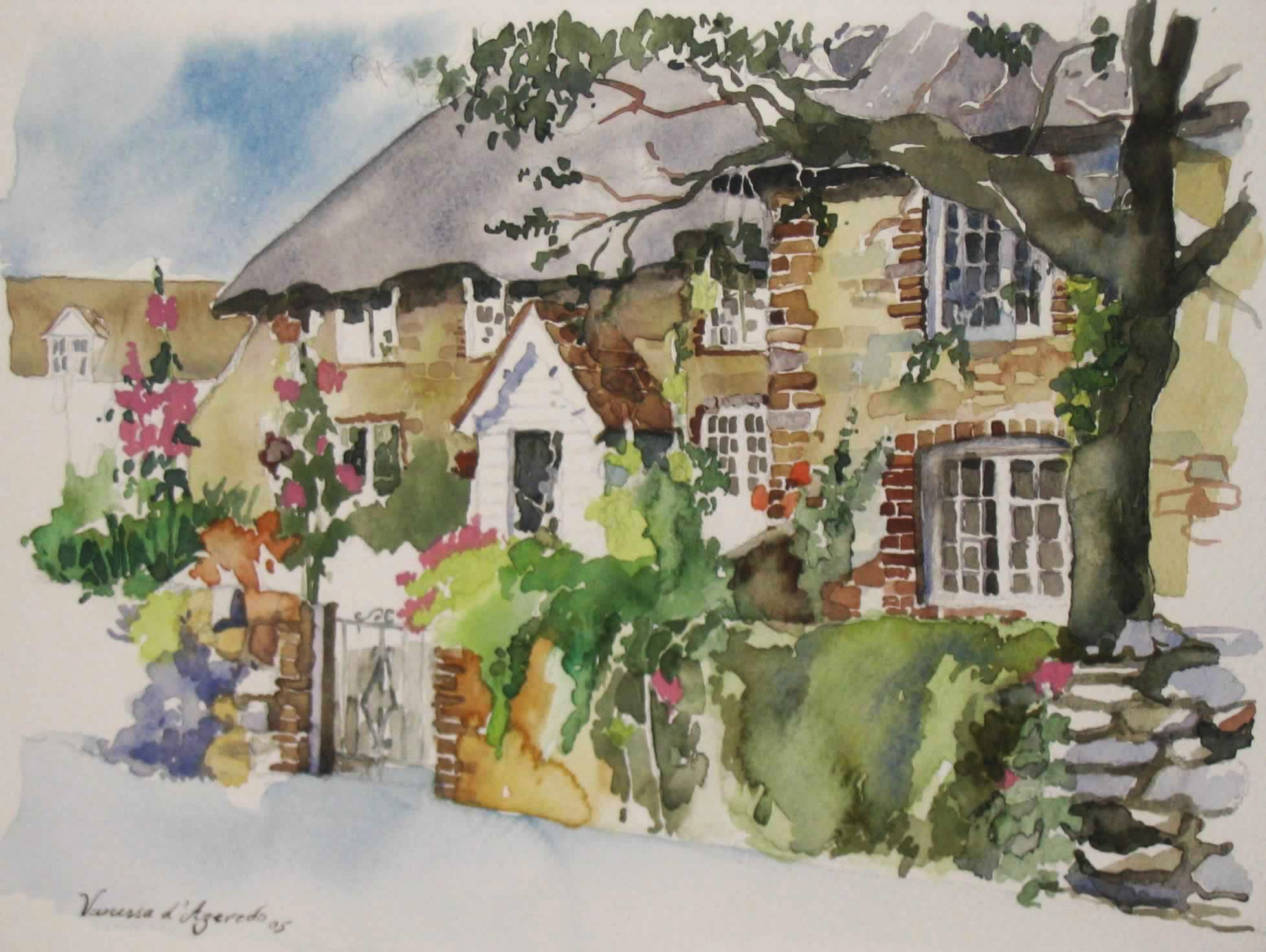 English cottage watercolour by vanessa azevedo water for Watercolor cottages