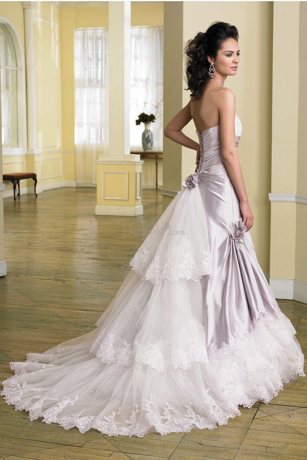 Fancy Light Purple Silk Wedding Dress with Glistening Detailed ...