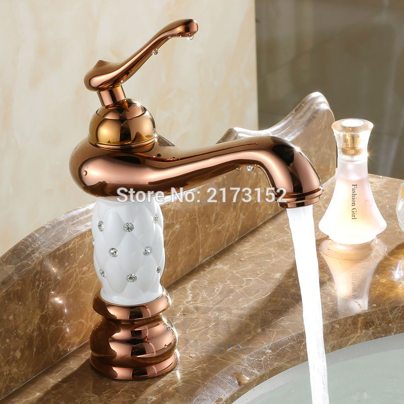 Free Shipping Royal Gold Plated Bathroom Faucet White Ceramic Body ...