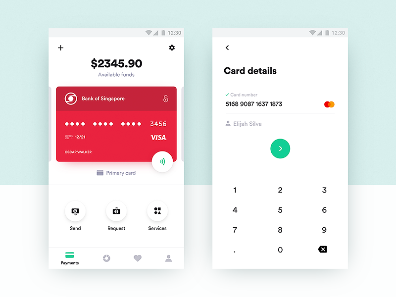 Credit card payment app