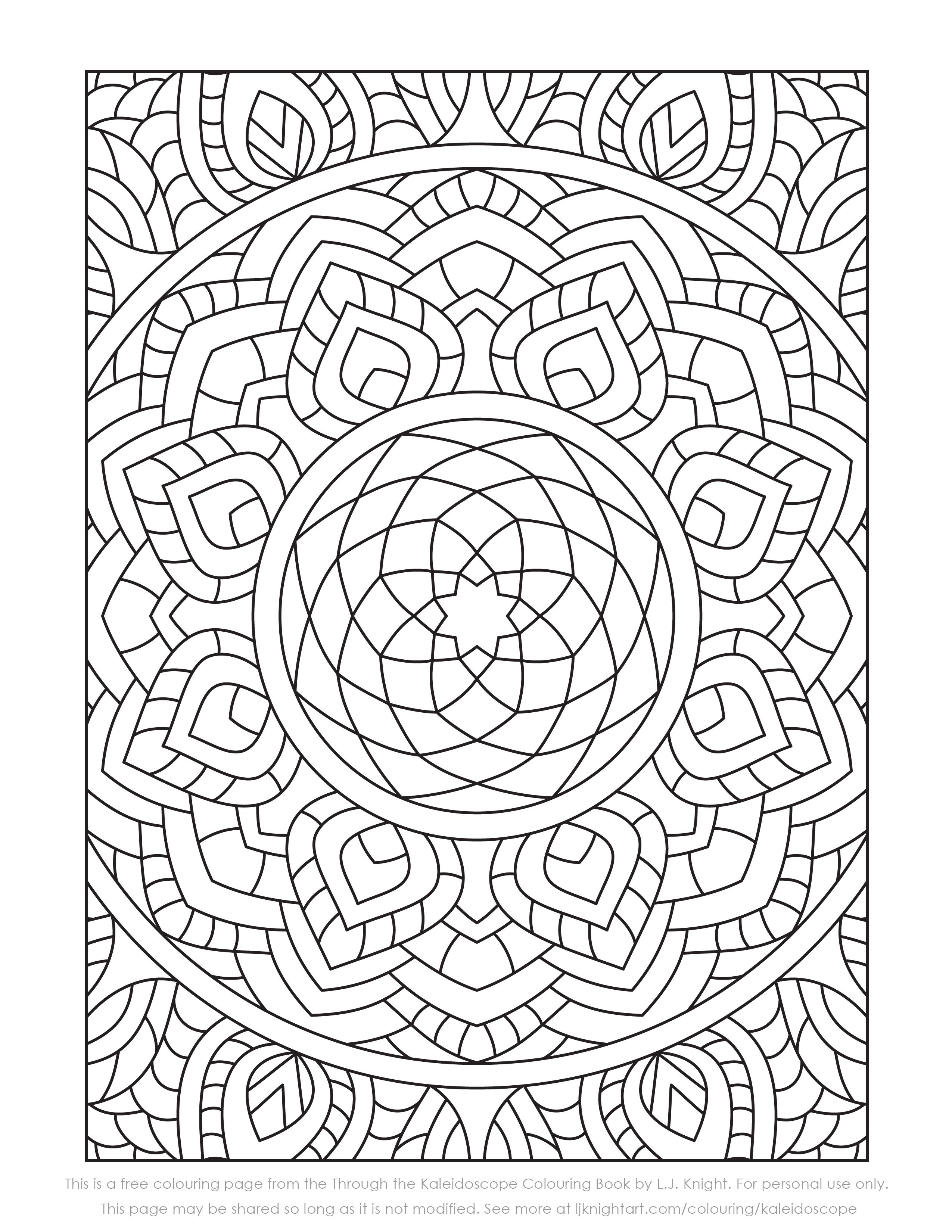 Free Colouring Page From The Through The Kaleidoscope Colouring Book By L J Knight Thi Geometric Coloring Pages Pattern Coloring Pages Mandala Coloring Pages