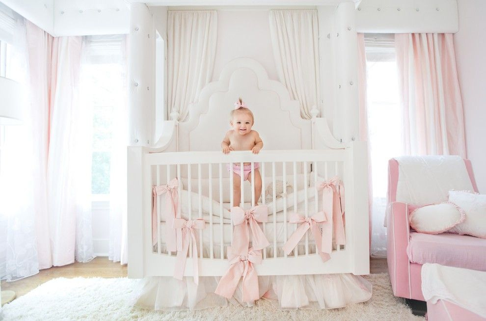 Blooming Pink Curtains For Nursery With White Crib Gray Carpet