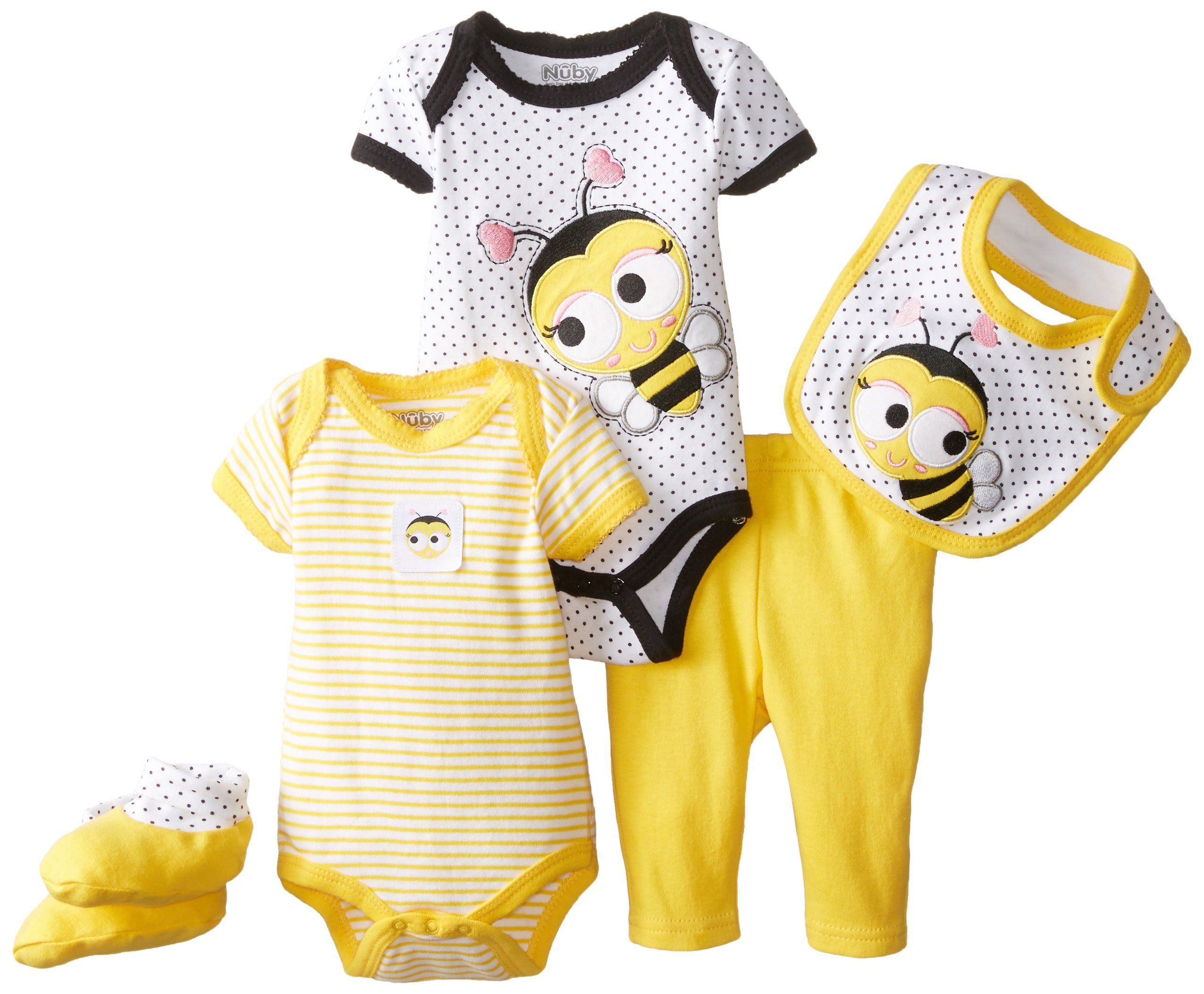 NUBY Baby Girls Newborn 5 Piece Set Baby Bee Yellow 0 3 Months