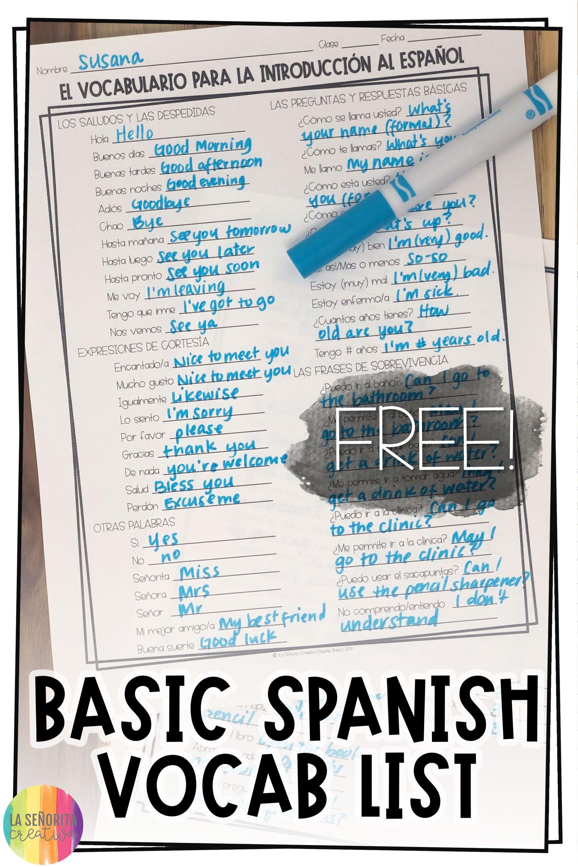 Introduction To Spanish Basic Vocab List Free