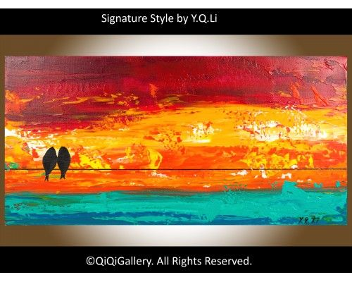 """Sunset Love Birds Abstract Landscape Original Love Birds on Wire Painting Heavy Texture Impasto Acrylic Wall Décor """"Sunset Love Birds"""" by QIQIGALLERY, $75.00"""