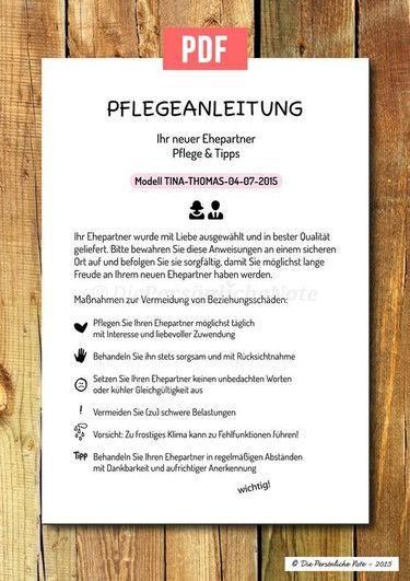 Druckvorlage/Print/PDF: Pflegeanleitung   Hochzeit