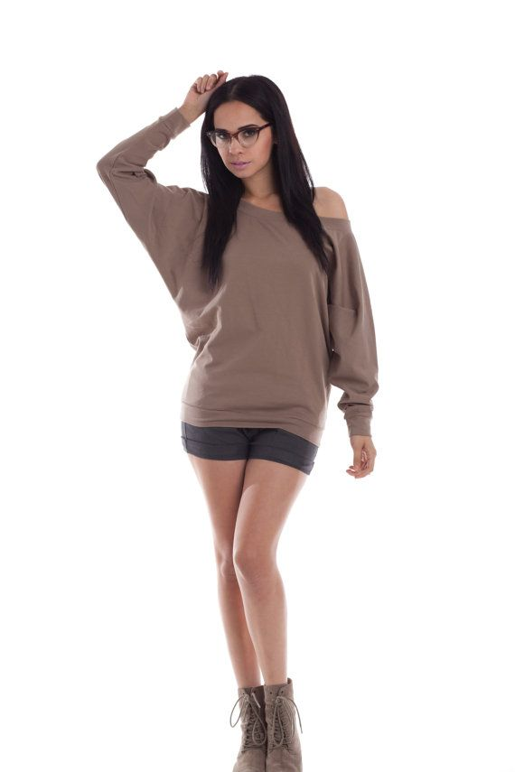 Dolman Off The Shoulder Sweater - Sweatshirt Oversize Womens Tops ...