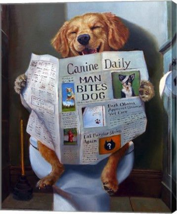 Dog Gone Funny Animal Canvas Wall Art Print By Julie Heffernan