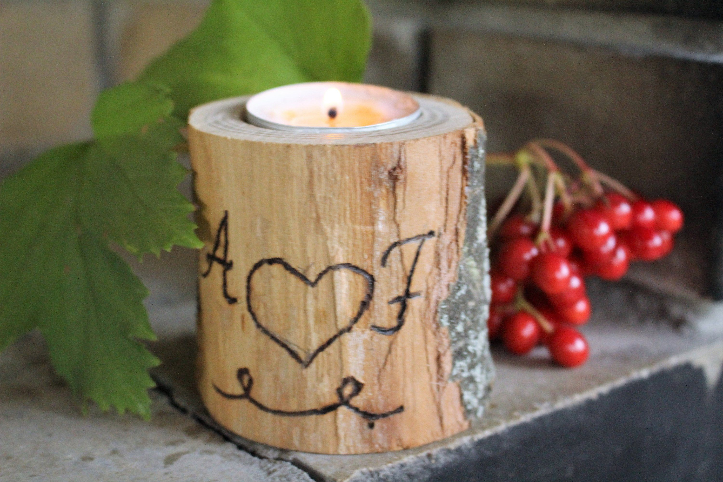 Rustic Christmas candleholder wooden tealight candle holder for