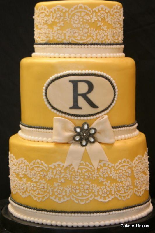 vintage-style wedding cake, yellow wedding cake | It\'s too pretty to ...