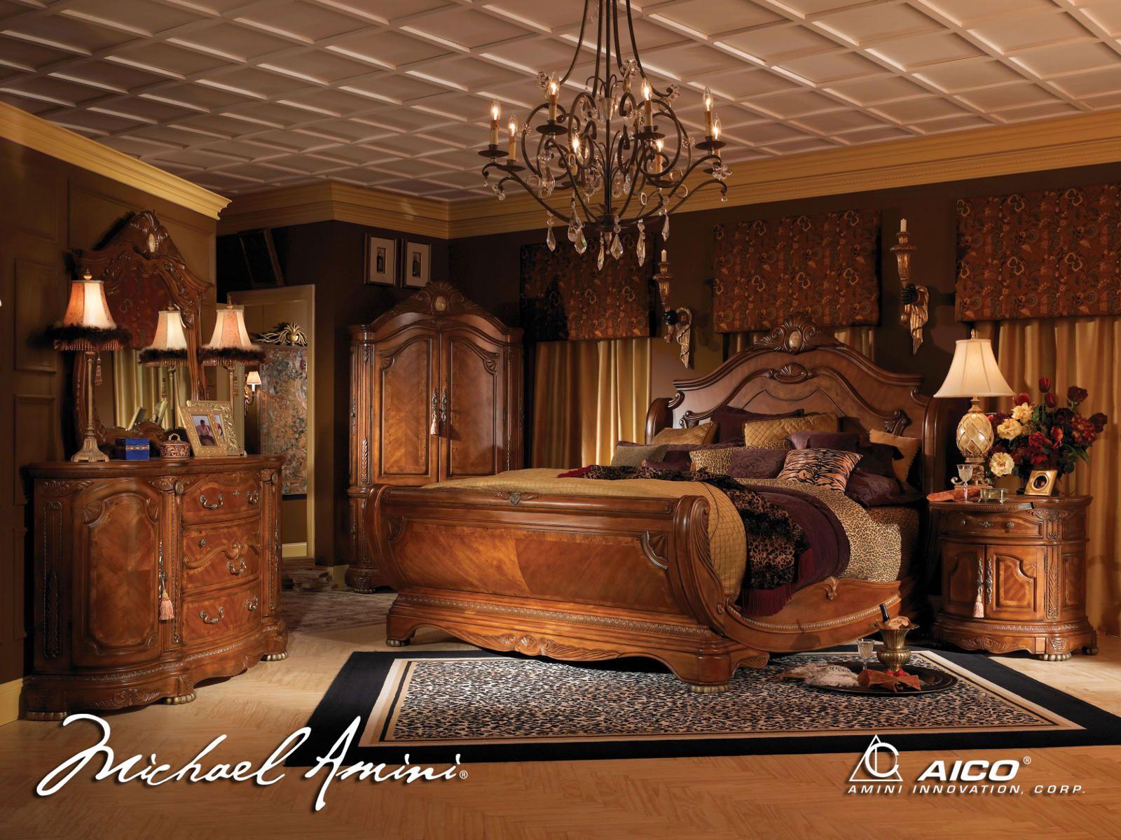 Aico Cortina 4pc Sleigh Bedroom Set In Honey Walnut In 2019