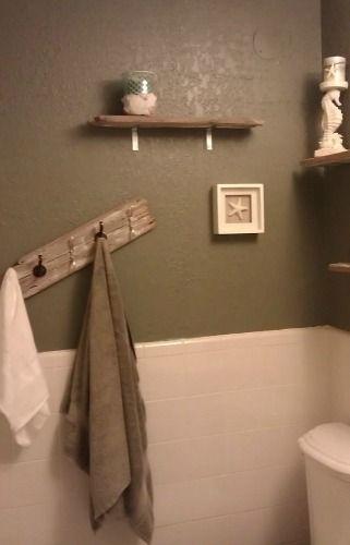 Rustic meets Industrial! DIY shelves and towel rack using old wood.