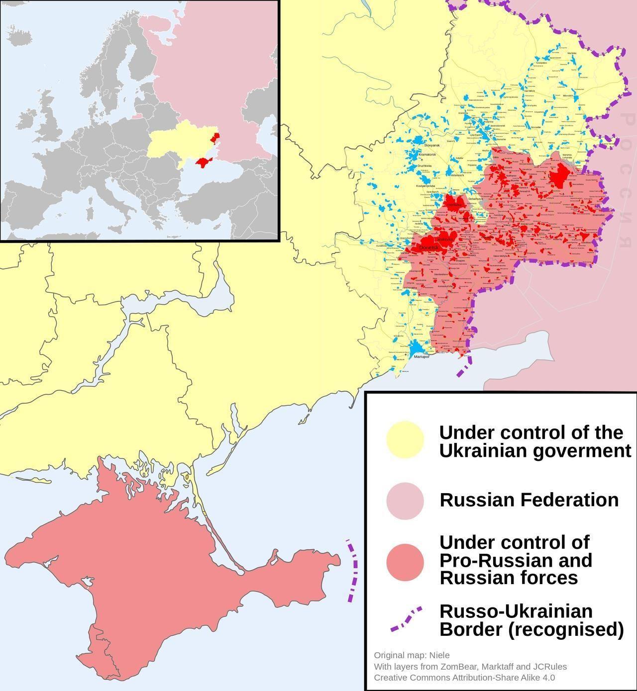 2014 Russo-Ukrainian conflict map. | Karten | Karten
