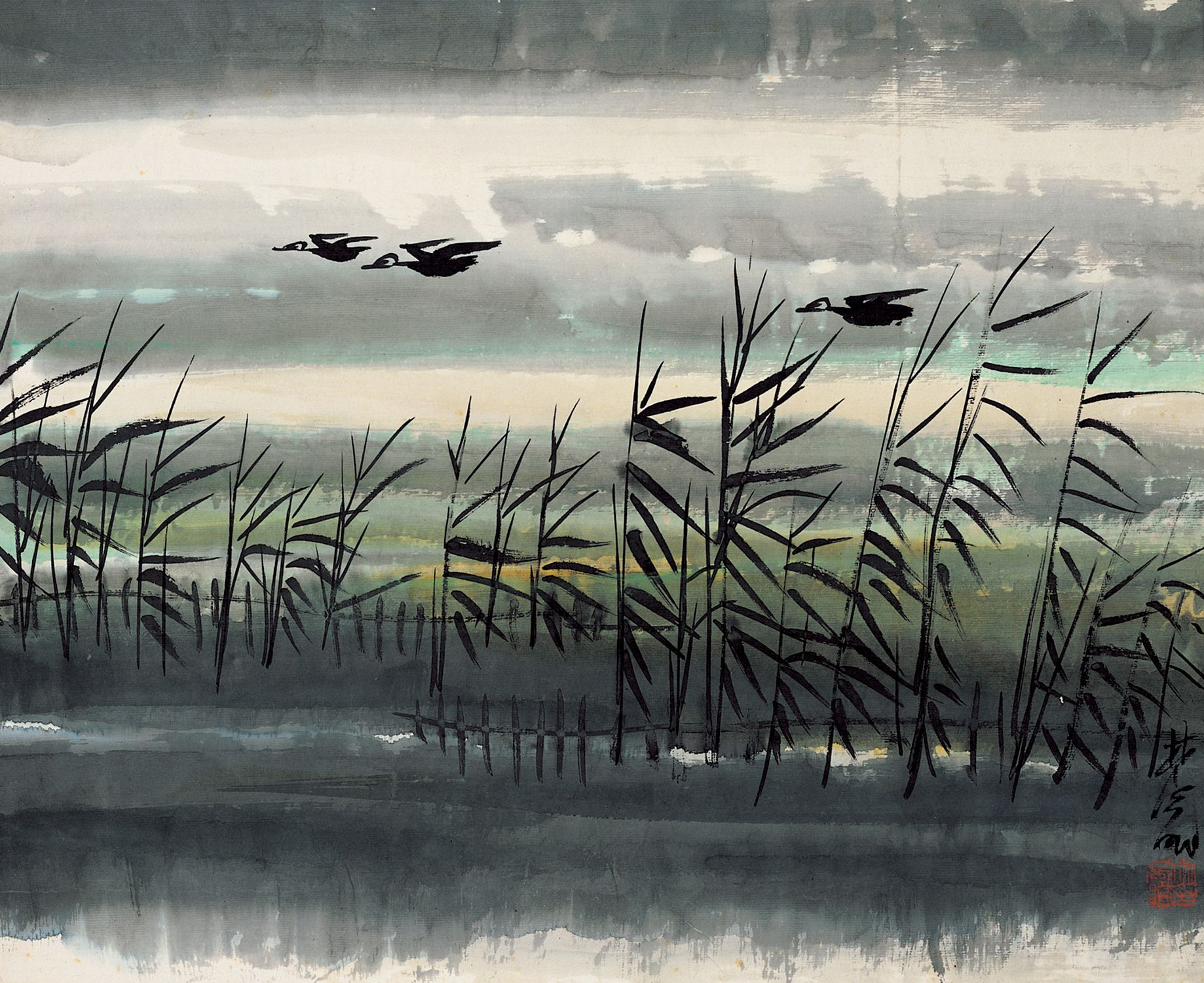 Lin Fengmian  (1900 - 1991) - Reeds and Wild Geese