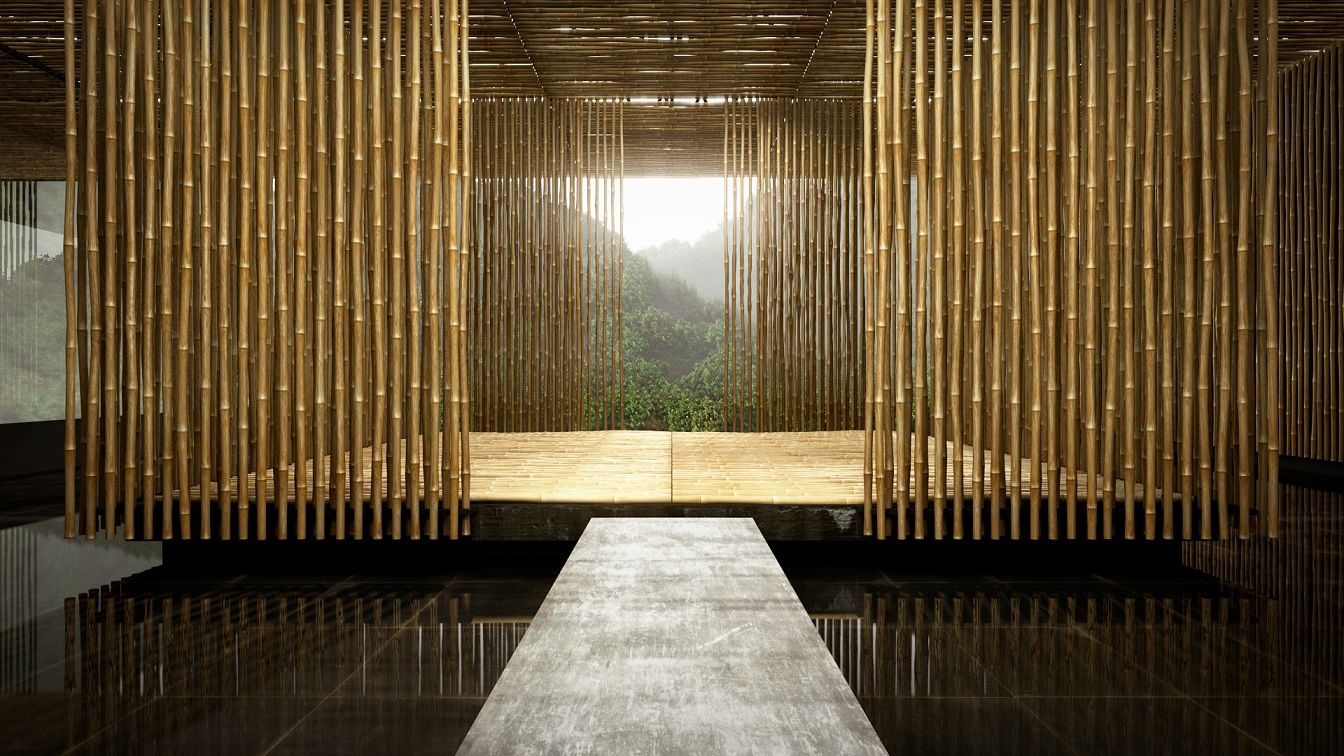 great bamboo wall house by architecture agency kengo kuma and