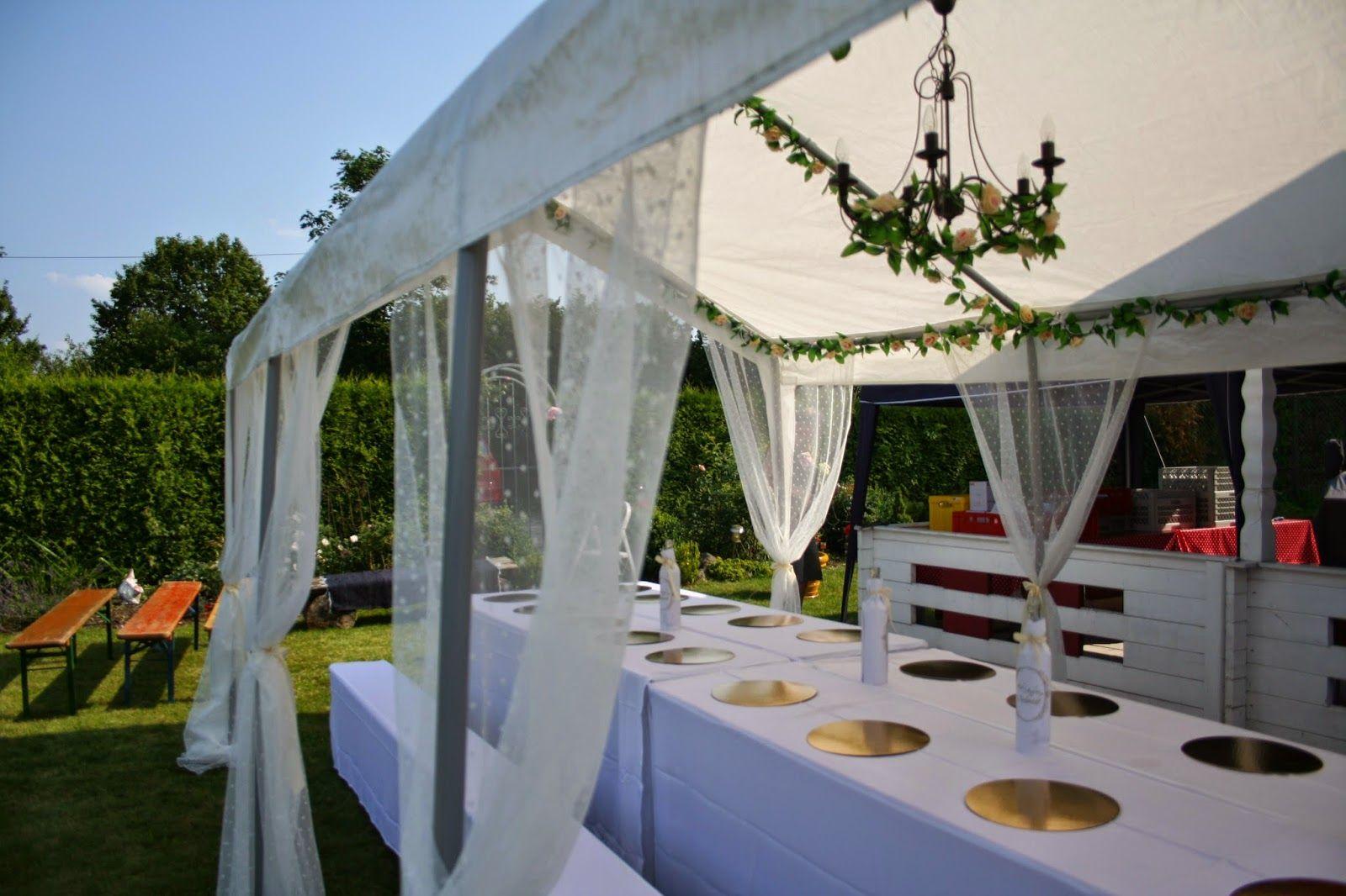 Unsere Hochzeitsdeko Pavillon Hochzeit Hochzeitsfeier Garten Hochzeitsdeko