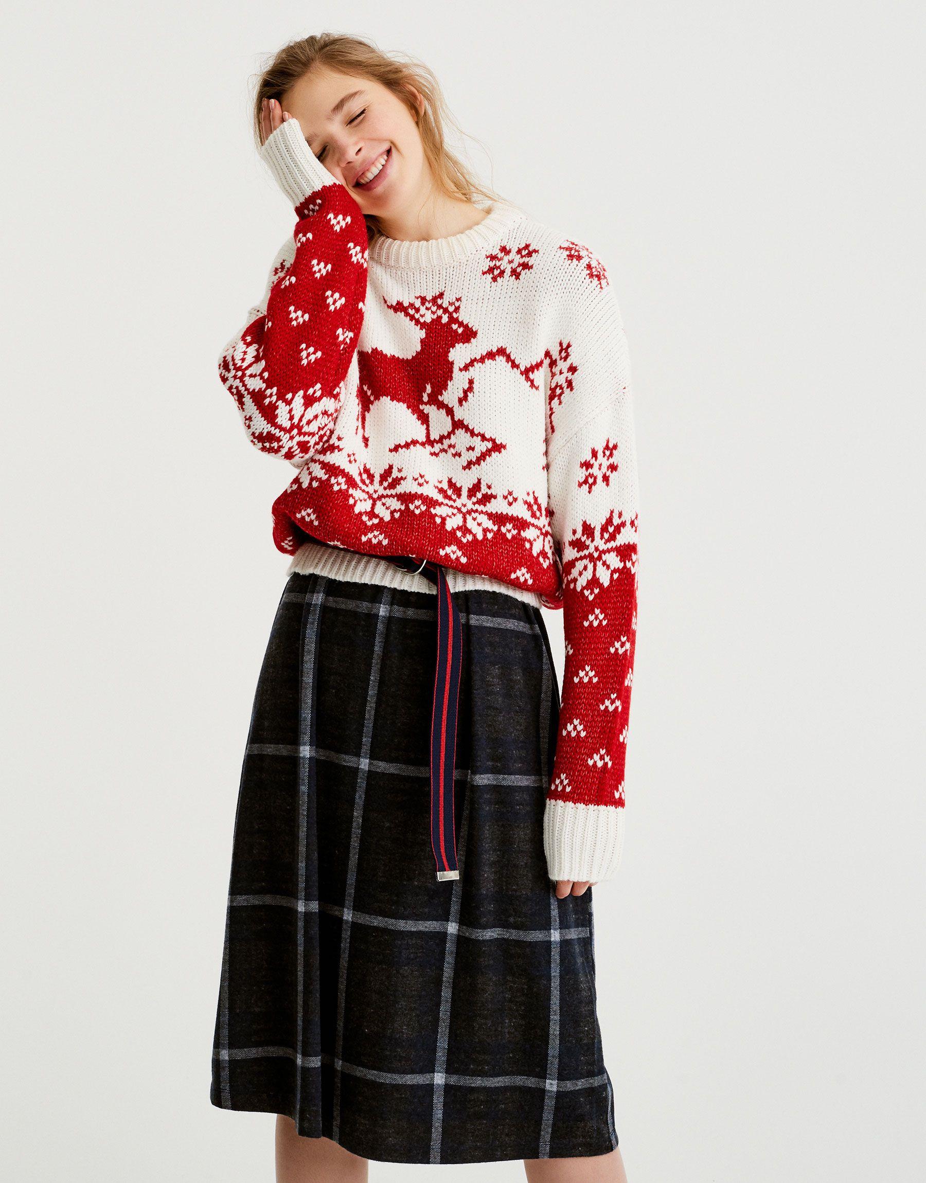Pulover Cu Motive De Crăciun și Ren Tricot îmbrăcăminte Femei Pull Bear România Clothes Women Christmas Fashion