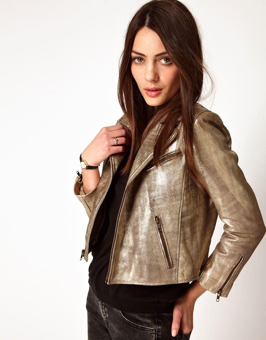 Ganni Leather Biker Jacket In Gold Leather Jacket Street Style Leather Jacket Best Leather Jackets [ 1110 x 870 Pixel ]