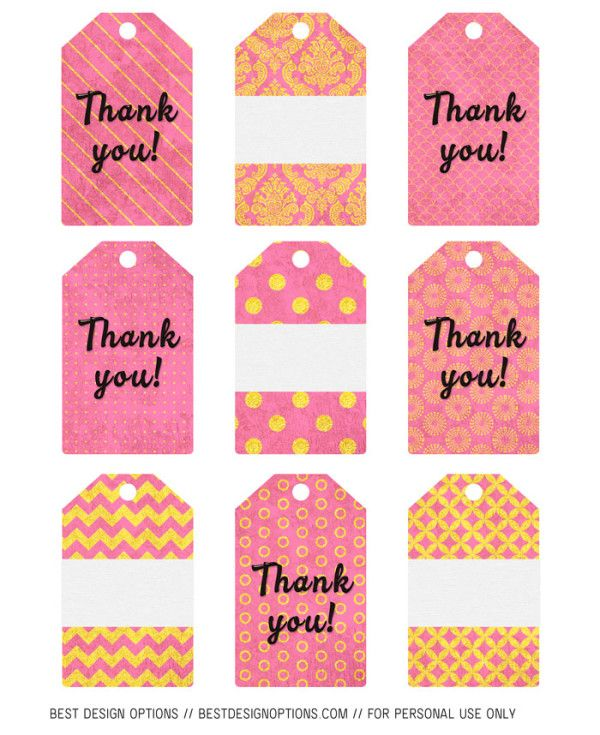 Here Is Another Set Of Ready To Print Thank You And Blank Gift Tags In Pink And Gold Patterns That Free Printable Gift Tags Free Gift Tags Free Printable Cards