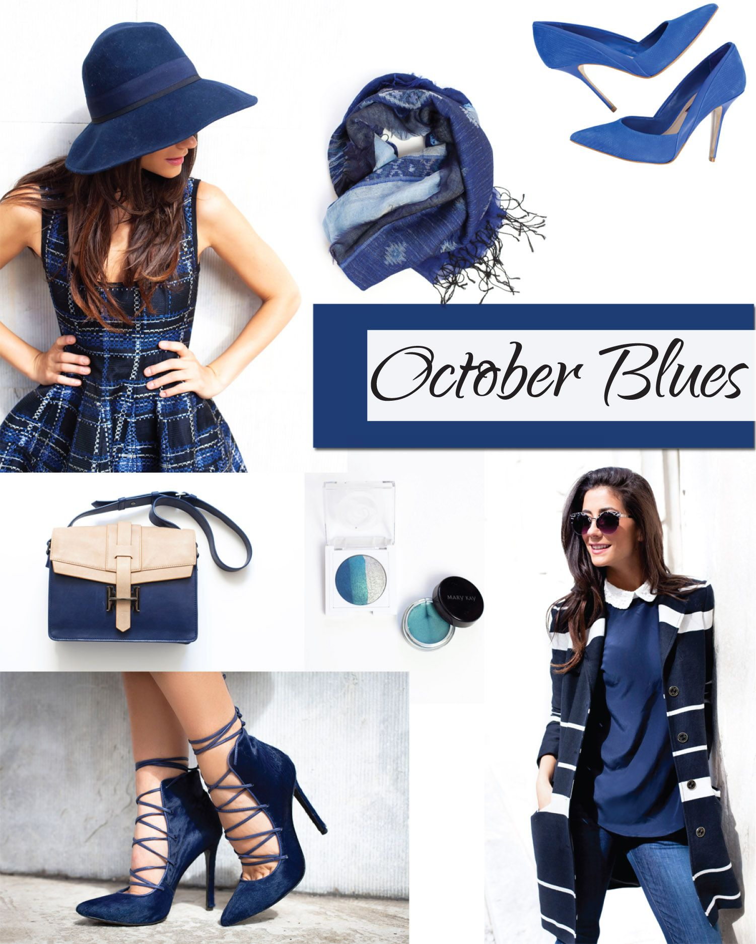 Cool, moody blues are hot for fall! Wear it head-to-toe or color your lids to make your eyes pop. Here are my top #bloggerpicks for October! #mktrend