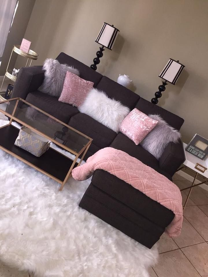 Brown And Black Living Room Designs: Dark Brown Couch With Accent Light Pink, Light Grey, And