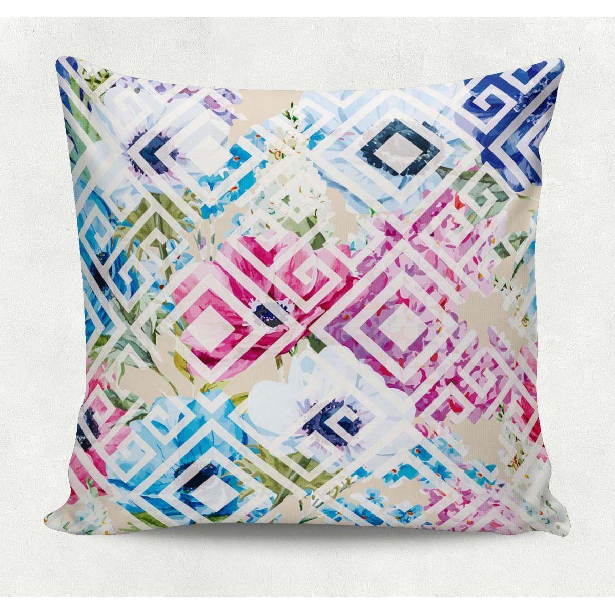 d1a62bf514 Almofada decorativa em tecido estampado - JARDIM GEOMÉTRICO – 45cm X 45cm