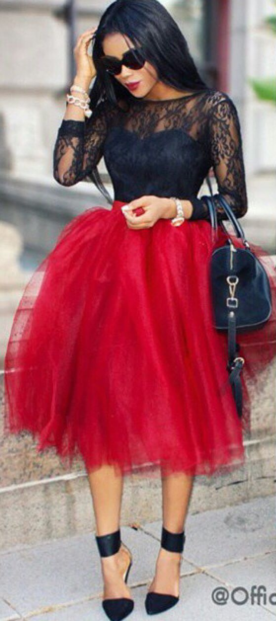 Learn To Plan Your Wardrobe For The Whole Week Black Tulle Skirt OutfitRed Tutu