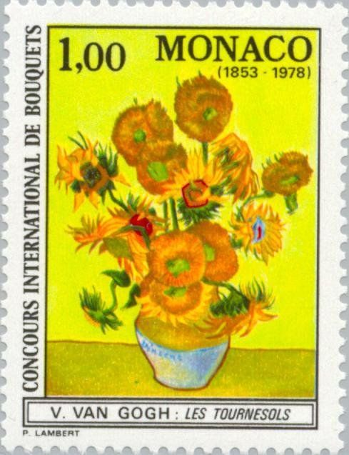Stamp Fourteen Sunflowers In A Vase By Vincent Van Gogh Monaco