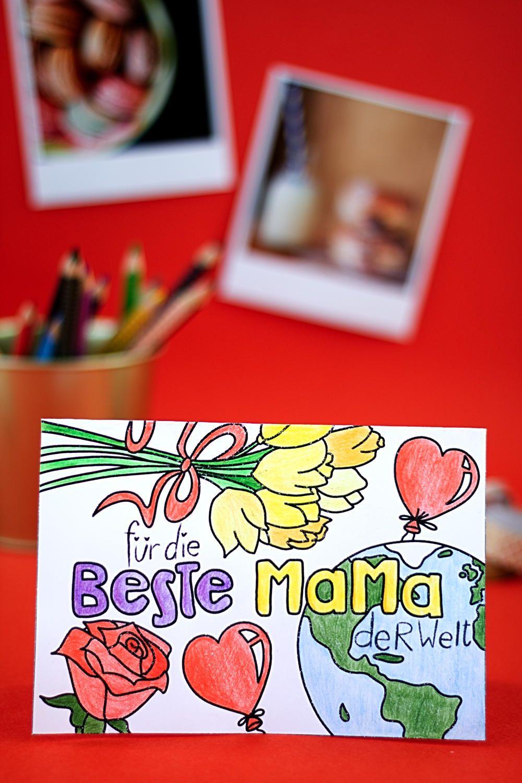 Karte Zum Ausmalen Zum Muttertag Einfach Basteln Muttertag Basteln Muttertag Geschenke Basteln Karten Basteln