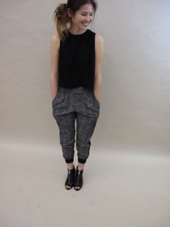#LoveAdy label #easy #pants paired with a black crop top