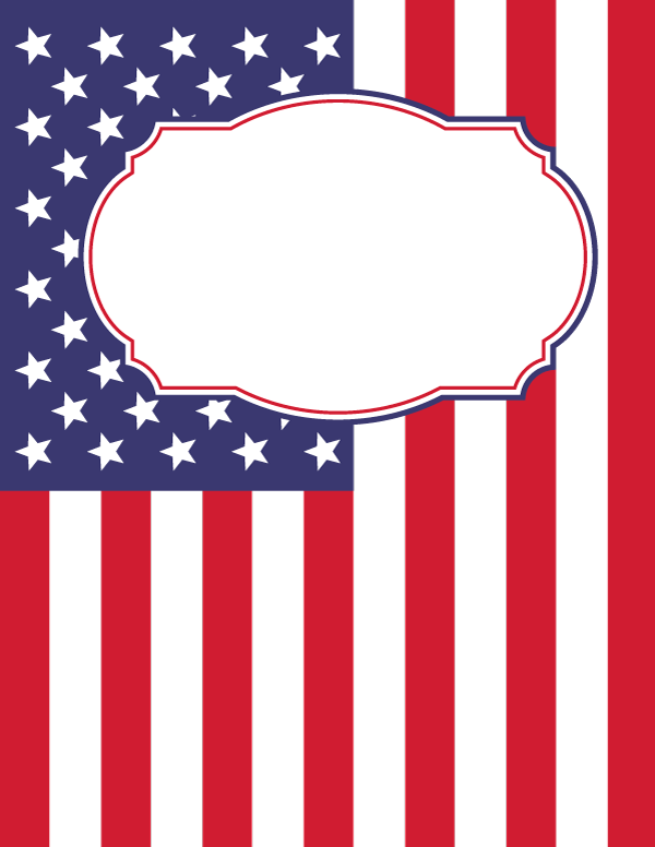 Free printable American flag binder cover template ...