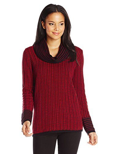 55bc9f92edb Calvin Klein Womens Cowl Neck with Grid Stripe Rouge Large     Continue to  the
