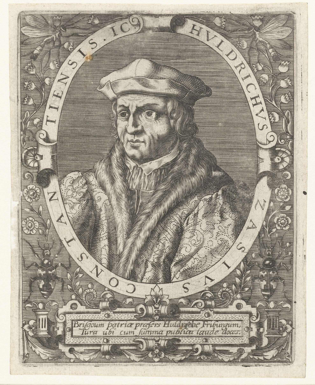 Theodor de Bry   Portret van Ulrich Zasius, Theodor de Bry, Johann Theodor de Bry, c. 1597 - c. 1599   Portret van de jurist Ulrich Zasius, in ovaal met randschrift. Onder het portret een lofdicht.