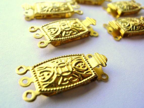 6 Raw Brass Clasps  3 Strand by 2VintageGypsies on Etsy, $2.95