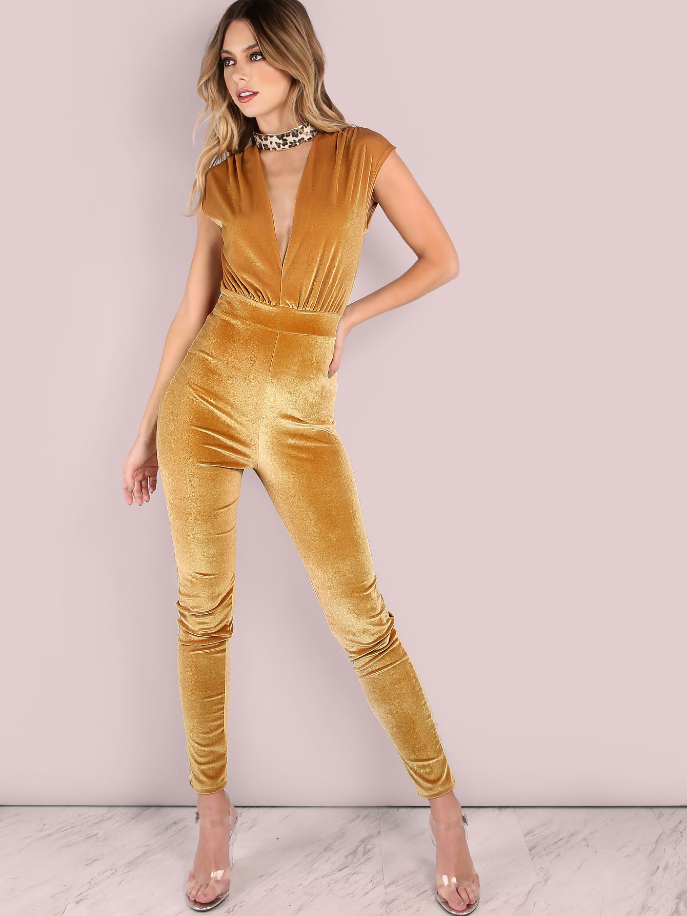 2f495fbb5a68 Shop Velvet Plunge Jumpsuit GOLD online. SheIn offers Velvet Plunge Jumpsuit  GOLD   more to fit your fashionable needs.